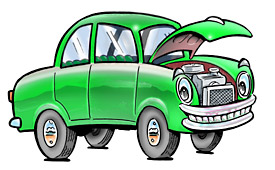 Cartoon of green car